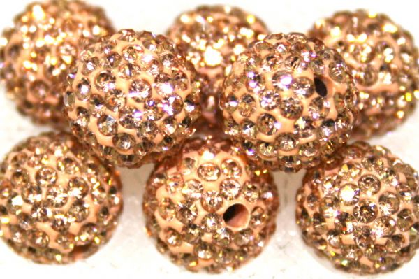 10mm Peach 115 Stone  Pave Crystal Beads- 2 Hole PCB10-115-020